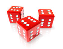 Six red dices. Three 3D red dices with six on all sides. Win concept Royalty Free Stock Images