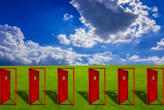 Six Red door placed on an outdoor lawn with blue sky floor. Concepts, ideas, choices, and business decisions royalty free illustration