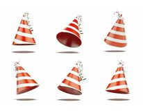Six red festive caps. 3d rendering Stock Image