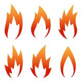 Six Red Flame Icon set isolated on a white Royalty Free Stock Images