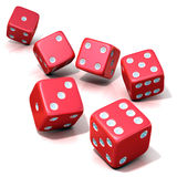 Six red game dices Stock Photos