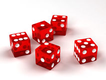 Six red glass dices Stock Images
