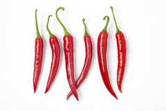 Six Red Hot Chili Peppers In A Row On White Backg. Round Royalty Free Stock Photo