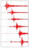 Six red seismogram Stock Photography