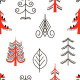 Six red trees seamless pattern. National scandinavian paintings. Folk handicrafts. Enchanting original ornaments. Simplicity. flat oak, ash, pine, spruce vector illustration