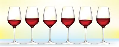 Six  red wine glasses Royalty Free Stock Photo