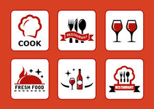 Six restaurant icons set Stock Photography