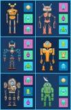 Six Robots, Icons Set, Color Vector Illustrations stock illustration