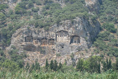 Six rock tombs at ancient Kaunos in Turkey Royalty Free Stock Photography