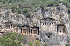 Six rock tombs at ancient Kaunos in Turkey Stock Photo