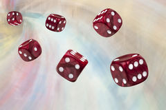 Six rolling dices Royalty Free Stock Photo