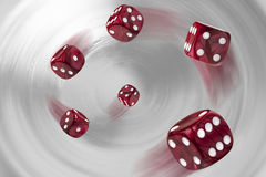 Six rolling dices Stock Photo