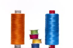 Six rolls of colored thread Royalty Free Stock Photos