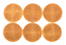 Six round wafers placed near Royalty Free Stock Photography