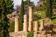 Six ruined columns in Delphi Stock Photo