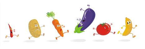 Six Running Vegetable Cartoons. Group of 6 vegetable cartoons running away from something really scary, isolated on white background. See more vegetable cartoon royalty free illustration