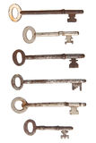 Six rusty old keys. Royalty Free Stock Image