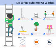 Six safety rulers use of ladders. Vector safety infographic . Six rulers of safe ladder using. Guide and warnings Royalty Free Stock Image