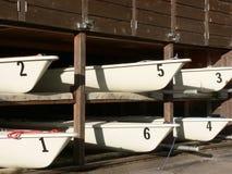 Six Sailboats. In storage building at Glenmore Sailing School, Calgary, Alberta, Canada Royalty Free Stock Image