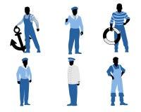 Six sailors silhouettes Royalty Free Stock Photos