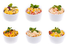 Six salads Royalty Free Stock Photography