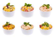 Six salads Royalty Free Stock Photography