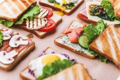 Six sandwiches with different ingredients Stock Photos