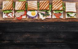 Six sandwiches with different ingredients Royalty Free Stock Image