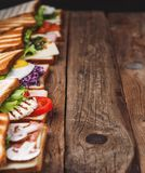 Six sandwiches with different ingredients Stock Photo