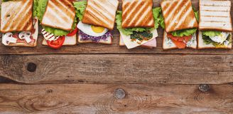 Six sandwiches with different ingredients Royalty Free Stock Photo