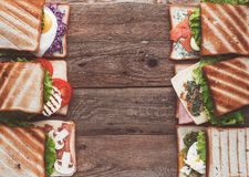 Six sandwiches with different ingredients Stock Image