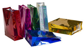 Six scattered Colourful paper shopping bags Royalty Free Stock Photo