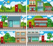 Six scenes of neighbors with building along the road Stock Images