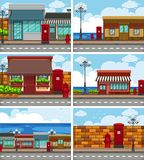 Six scenes with shops along the road. Illustration Royalty Free Stock Image