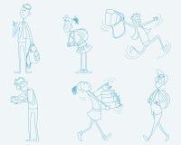 Six schoolchild set. Vector illustration of a six schoolchild set Stock Image