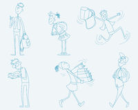 Six schoolchild set. Vector illustration of a six schoolchild set Royalty Free Stock Photos