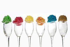 Six scoops of ice cream on glasses. On a white background Stock Photos
