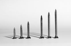 Six screws in a row Stock Photography