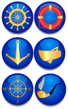 Six sea signs. A vector illustration Royalty Free Stock Photo