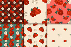 Six seamless floral patterns. Set of six seamless floral patterns with beautiful red and white roses. Vector illustration Stock Photo