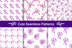Six seamless patterns with bows. White background. Royalty Free Stock Photos