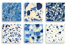Six seamless terrazzo patterns. Hand crafted and unique patterns repeating background. Granite textured shapes in. Six seamless terrazzo patterns. Hand crafted