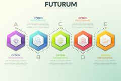 Six separate hexagonal elements placed in horizontal row and text boxes near them. Successive steps of project. Development concept. Futuristic infographic stock illustration