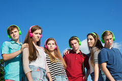 Six Serious Teenagers Royalty Free Stock Images