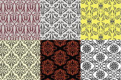 Six set desing vintage seamless pattern Royalty Free Stock Photo
