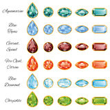 Six Sets Of Jewelry With Text. Sets of different cut gemstones - aquamarine, blue topaz, garnet, spinel, fire opal, citrine, blue diamond and chrysolite on a Stock Images