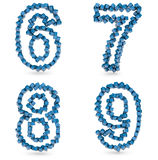 Six, seven, eight, nine digits made with cubes Royalty Free Stock Images