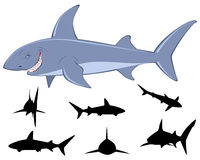 Six sharks silhouettes. Vector illustration of a shark and six sharks silhouettes Stock Photos