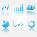 Shiny blue chart icons Stock Images