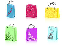 Six shopping bags. A group of 6 colorful shopping bags with different ornament Royalty Free Stock Photography